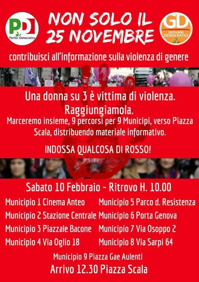 genere, Sabato 10 febbraio, Marcia contro la violenza di genere dai quartieri fino in piazza della Scala